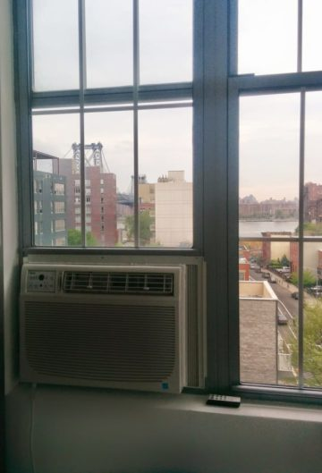 An AC unit installed in the window